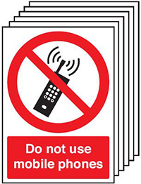 Do Not Use Mobile Phones   210x148mm 1.2mm Rigid Plastic Safety Sign Pack of 6