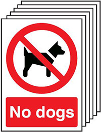No Dogs   297x210mm 1.2mm Rigid Plastic Safety Sign Pack of 6