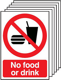 No Food or Drink   210x148mm 1.2mm Rigid Plastic Safety Sign Pack of 6