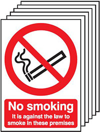 No Smoking It Is Against The Law   210x148mm 1.2mm Rigid Plastic Safety Sign Pack of 6