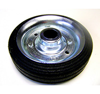 200mm Black Solid Rubber Tyre / Silver Metal Centre - Plain Bore
