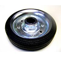 250mm Black Solid Rubber Tyre / Silver Metal Centre - Plain Bore