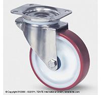 125mm Stainless Steel Top Plate Swivel Castor - Polyurethane Tyre / Nylon Centre