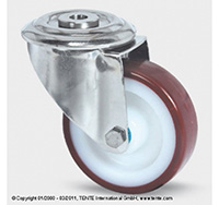 100mm Stainless Steel Bolt Hole Swivel Castor - Polyurethane Tyre / Nylon Centre