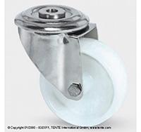 100mm Stainless Steel Bolt Hole Swivel Castor - Nylon