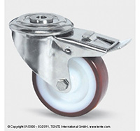 80mm Stainless Steel Bolt Hole Swivel Castor and Swivel   Wheel Brake - Polyurethane Tyre / Nylon Centre