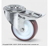 100mm Stainless Steel Bolt Hole Swivel Castor and Swivel   Wheel Brake - Polyurethane Tyre / Nylon Centre