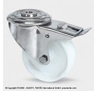 125mm Stainless Steel Bolt Hole Swivel Castor and Swivel   Wheel Brake - Nylon