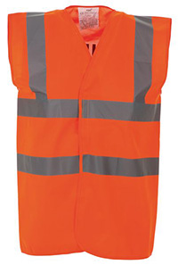 High Vis 2 Band Waistcoat - Orange Security - Large