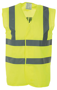 High Vis 2 Band Waistcoat - Yellow Fire Warden - Med