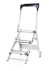 Easy Slope Aluminium Folding Leader Ladders - 3 Tread with ribbed rubber treads