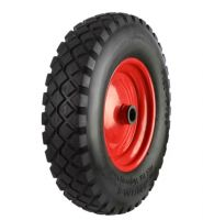 Black Pneumatic Tyre  Red Metal Ctr Wheel - 220mm