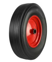 Black Solid Rubber Tyre  Red Metal Ctr Wheel - 330mm - RB
