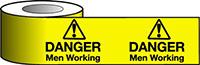 Barrier Warning Tape - 75mm x 100m - Danger Men Working