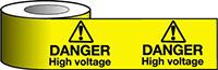 Barrier Warning Tape - 75mm x 100m - Danger High Voltage