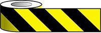 Barrier Warning Tape - 75mm x 100m - Black   Yellow Chevron