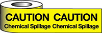 Barrier Warning Tape - 75mm x 100m - Caution Chemical Spillage