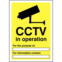 CCTV In Operation For the purpose of  420x297mm 1.2mm Rigid Plastic Safety Sign