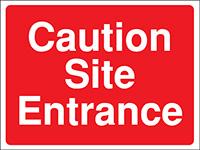 300x400mm Caution Site Entrance Construction Sign - Rigid
