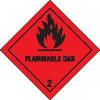 100x100mm Flammable Gas Self Adhesive Hazard Warning Diamonds