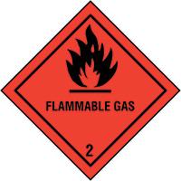 200x200mm Flammable Gas Self Adhesive Hazard Warning Diamonds