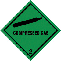 100x100mm Compressed Gas Hazard Warning Diamond Roll of 310