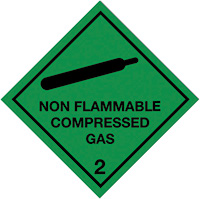 100x100mm Non Flammable Compressed Gas Self Adhesive Hazard Warning Diamonds