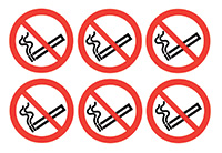 No Smoking Symbols  100mm Self Adhesive Vinyl Safety Sign Pack of 30