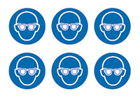 Eye Protection Symbols  100mm Self Adhesive Vinyl Safety Sign Pack of 30