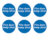 Fire Door Keep Shut  100mm Self Adhesive Vinyl Safety Sign Pack of 30