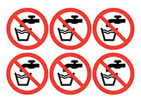Do Not Drink Symbols 100mm Self Adhesive Vinyl Safety Sign Pack of 30