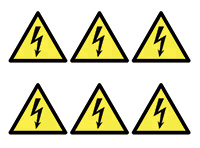 Electricity Symbols  100mm Self Adhesive Vinyl Safety Sign Pack of 30