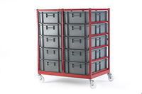 Mobile Container Trolley C/W 10 Containers