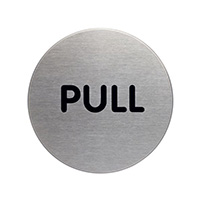Pull picto door sign 65mm Brushed Stainless Steel Safety Sign
