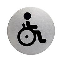 Disabled symbol picto door sign 83mm Brushed Stainless Steel Safety Sign