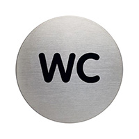 WC picto door sign 83mm Brushed Stainless Steel Safety Sign
