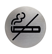 No smoking picto door sign 83mm Brushed Stainless Steel Safety Sign
