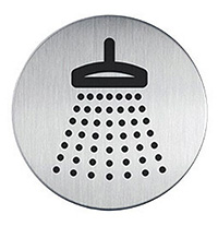 Shower picto door sign 83mm Brushed Stainless Steel Safety Sign