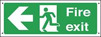 Fire exit arrow left  150x450mm 0.9mm Aluminium Safety Sign