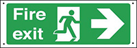 Fire exit arrow right  150x450mm 0.9mm Aluminium Safety Sign