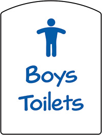Boys Toilets School Sign 400x300mm 1.2mm Rigid Plastic Safety Sign