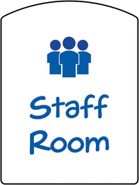 Staff Room School Sign 400x300mm 1.2mm Rigid Plastic Safety Sign