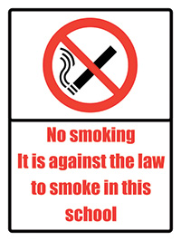 No smoking it is against the law School Sign 400x300mm 1.2mm Rigid Plastic Safety Sign