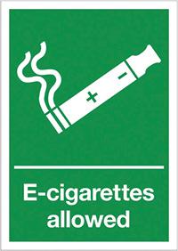 E-Cigarettes allowed  297x210mm 1.2mm Rigid Plastic Safety Sign