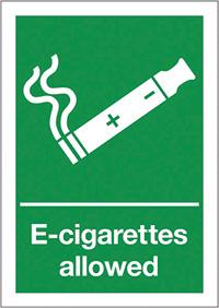 E-Cigarettes allowed  210x148mm 1.2mm Rigid Plastic Safety Sign