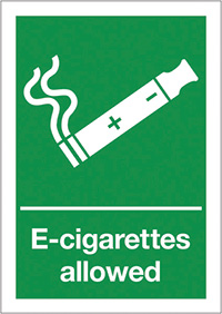 E-Cigarettes allowed  210x148mm Self Adhesive Vinyl Safety Sign
