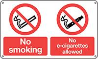 No smoking No e-cigarettes allowed  300x500mm 1.2mm Rigid Plastic Safety Sign
