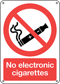No Electronic Cigarettes  210x148mm 1.2mm Rigid Plastic Safety Sign