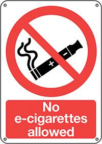 No E-Cigarettes allowed  210x148mm 1.2mm Rigid Plastic Safety Sign