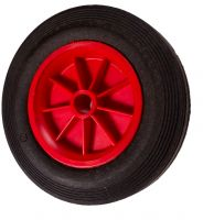Black Solid Rubber Tyre / Red Polyprop. Ctr Wheel - 160mm - 20mm Hub